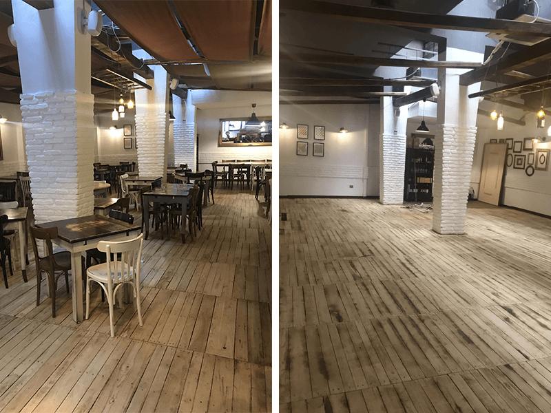Restauro del pavimento in legno dell'Osteria fratelli Mori, Roma
